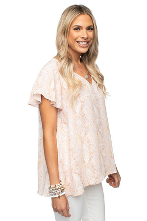 Pink Flutter Sleeve V Neck Top