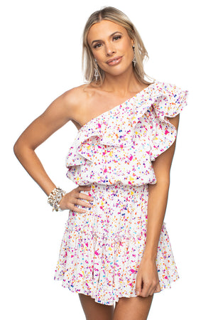 BuddyLove Sofia One Shoulder Ruffled Cocktail Dress - Confetti