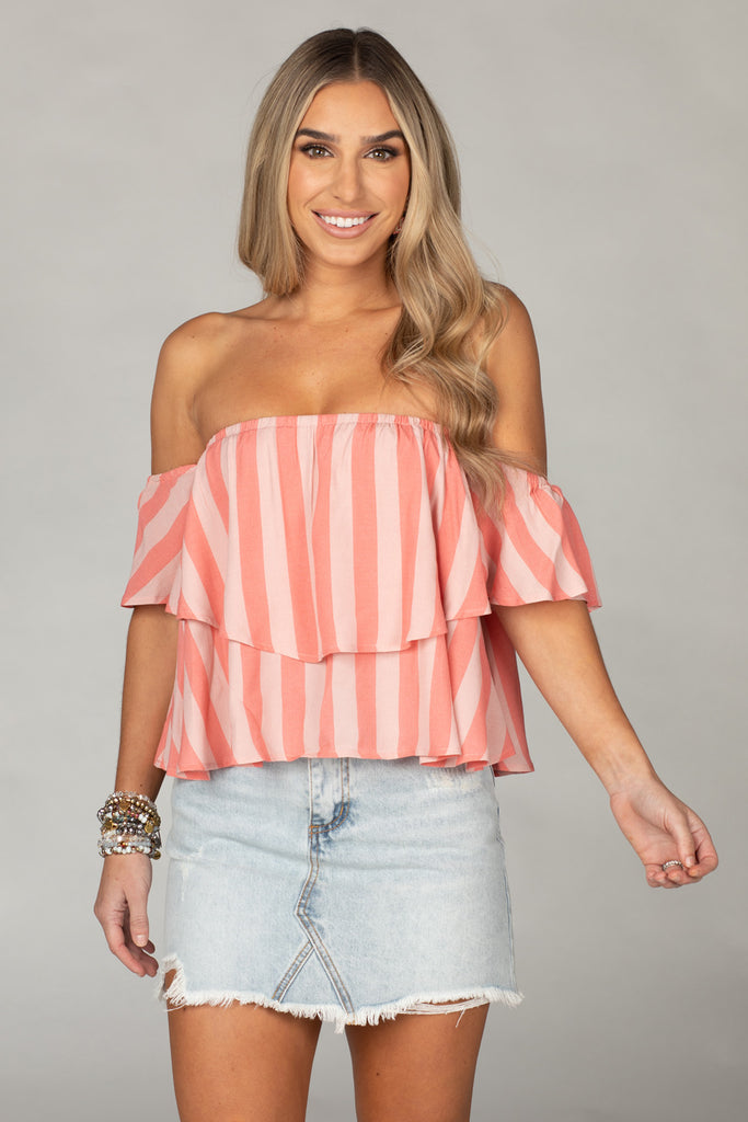 BuddyLove Laverne Off the Shoulder Top - Bubblegum,XS / Pink / Stripes