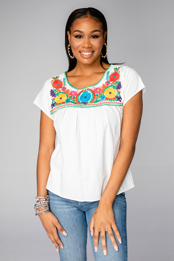 BuddyLove Chrissy Short Sleeved Embroidered Top - Multi