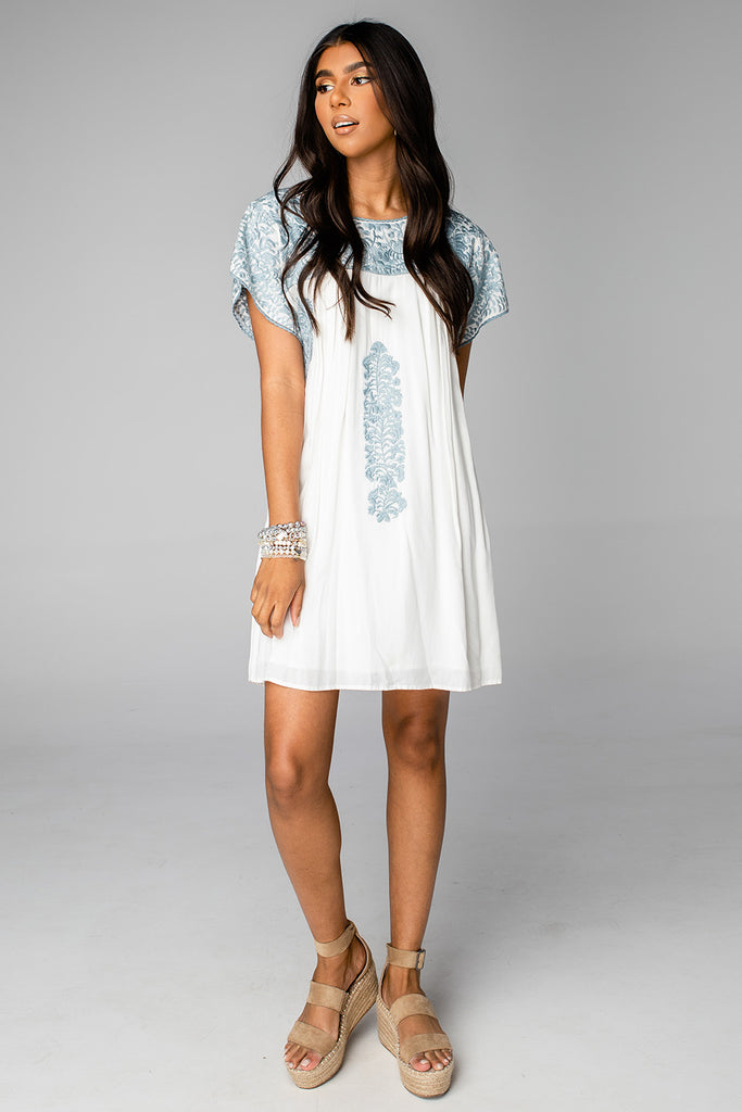 BuddyLove Carolina Short Sleeved Embroidered Mini Dress - Dust