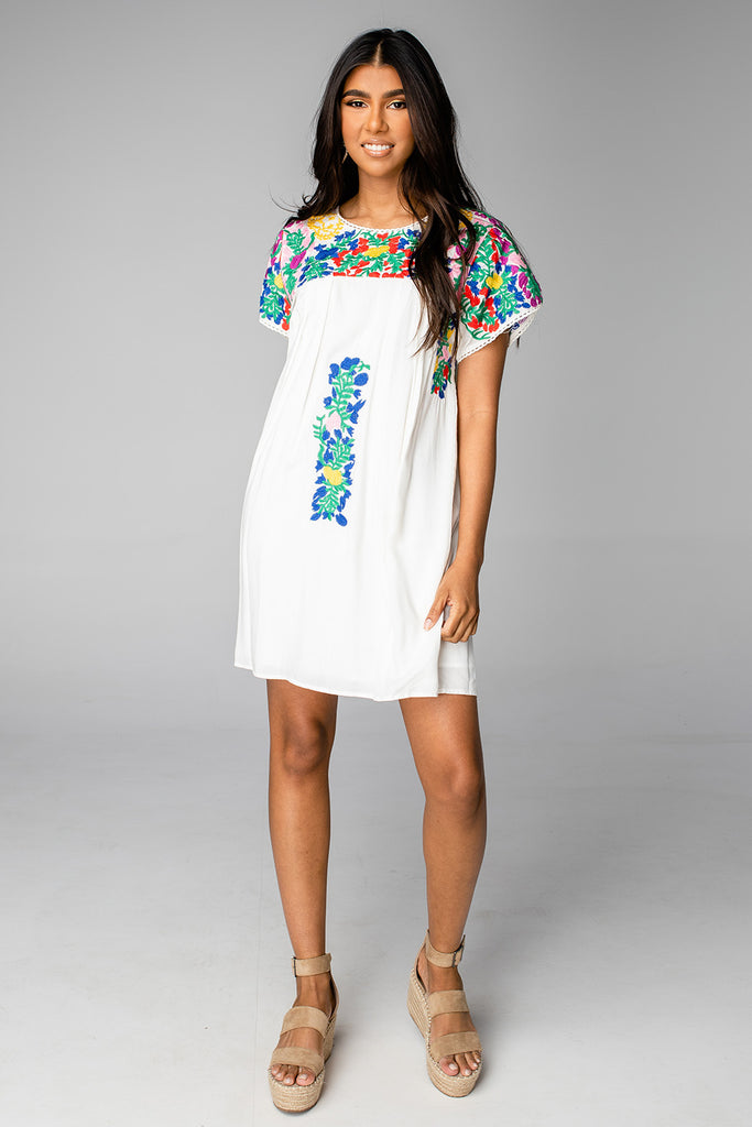 BuddyLove Carolina Short Sleeved Embroidered Mini Dress - Multi