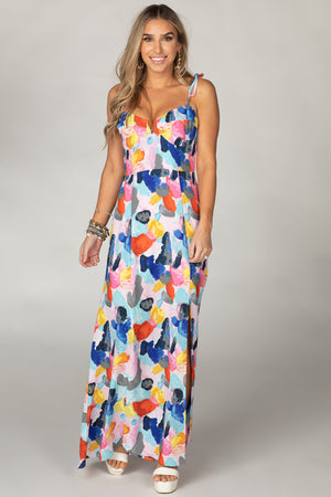 BuddyLove Essex Empire Waist Maxi Dress  - Picasso,XS / Blue / Abstract