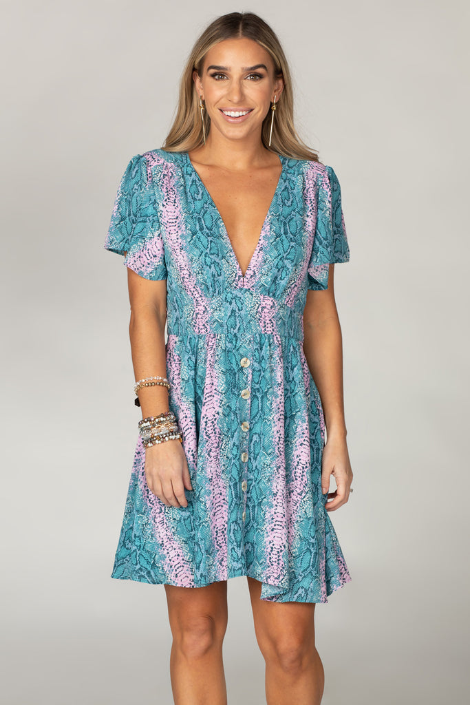 BuddyLove Alba Ruffled Sleeve Short Dress - Clover,XS / Blue / Snake Skin