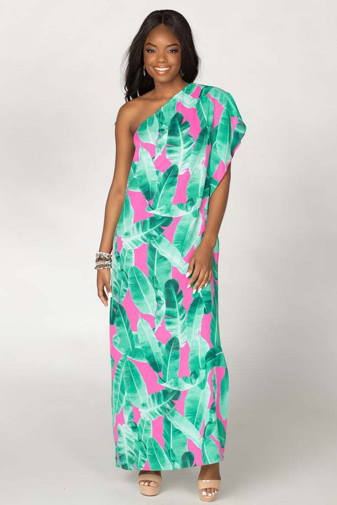 BuddyLove Grace One Shoulder Maxi Dress - Aruba,XS / Green / Florals