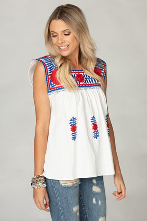 BuddyLove Maribel Embroidered Tank - Red/Blue