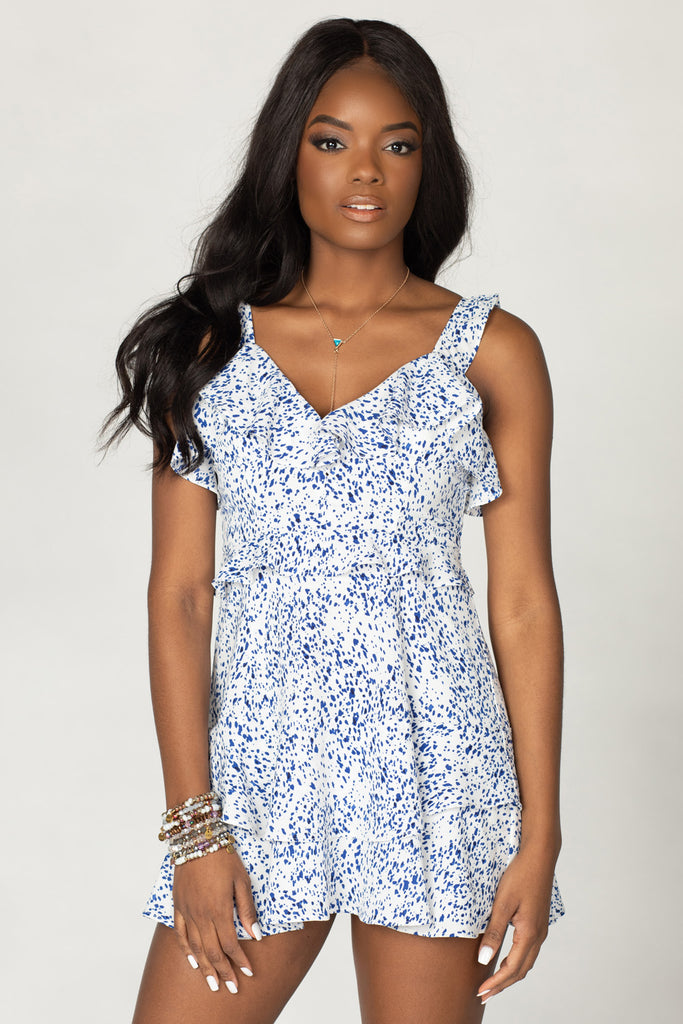 BuddyLove Julia Ruffled Mini Dress - Spotted,XS / Blue / Dots