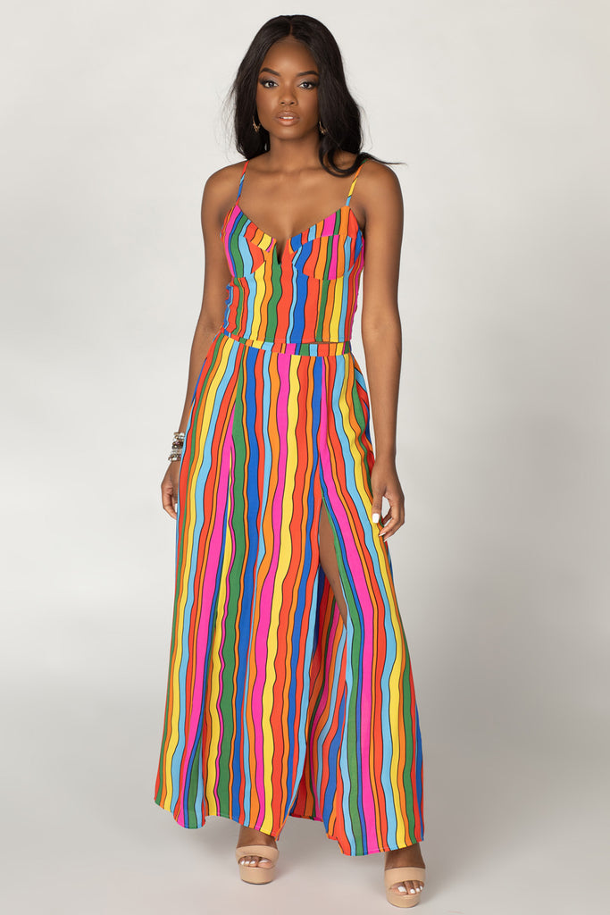 BuddyLove Lawrence High-Waisted Maxi Skirt - Rainbow Bright,XS / Multi / Stripes