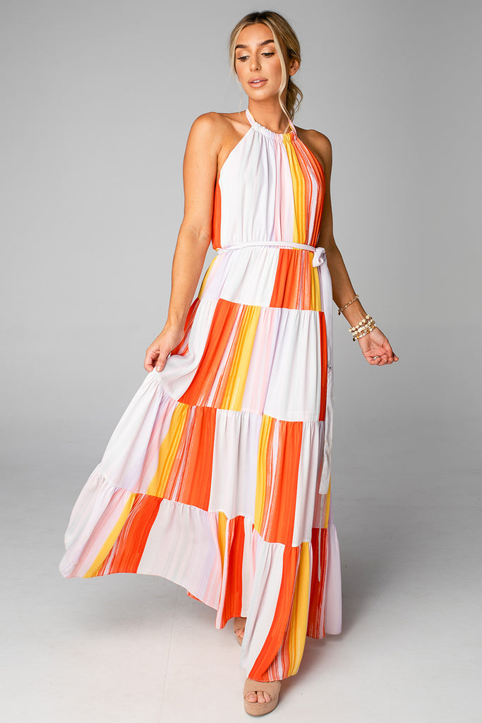 BuddyLove Blake Halter Maxi Dress - Sorbet,XS / Orange / Abstract