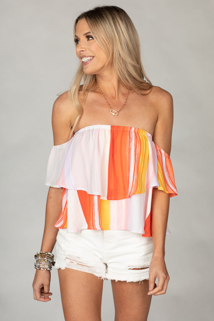 BuddyLove Laverne Off the Shoulder Top - Sorbet,XS / Orange / Abstract