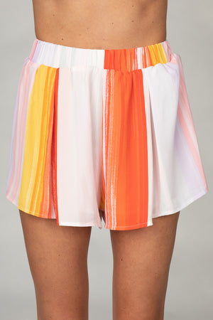 BuddyLove Shirley Elastic High-Waisted Shorts - Sorbet,XS / Orange / Abstract
