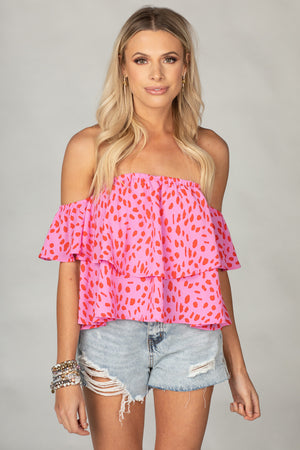 BuddyLove Laverne Off the Shoulder Top - Red Hot