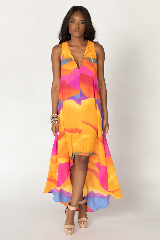 BuddyLove Campbell High-Low Dress - Sunset,XS / Orange / Abstract