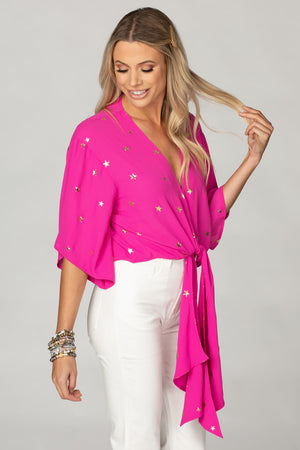 BuddyLove Muse Quarter Length Sleeve Tie Front Top - Pink Stars