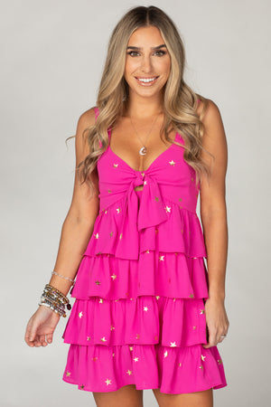 BuddyLove Eva Tiered Ruffled Mini Dress - Pink Stars