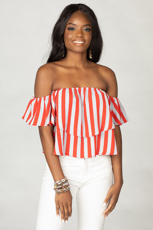 BuddyLove Laverne Off the Shoulder Top - Nautical,XS / Red / Stripes
