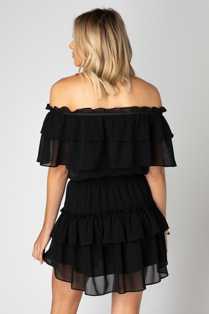 BuddyLove Kiera Ruffled Off the Shoulder Dress - Black