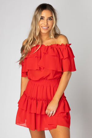 BuddyLove Kiera Ruffled Off the Shoulder Dress - Red