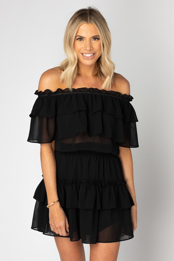 BuddyLove Kiera Ruffled Off the Shoulder Dress - Black,XS / Black / Solids