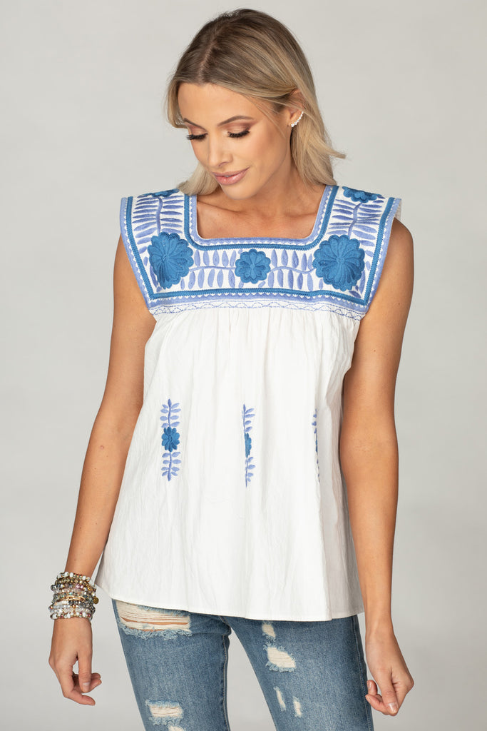BuddyLove Maribel Embroidered Tank - Two Tone Blue,XS / White / Embroidery