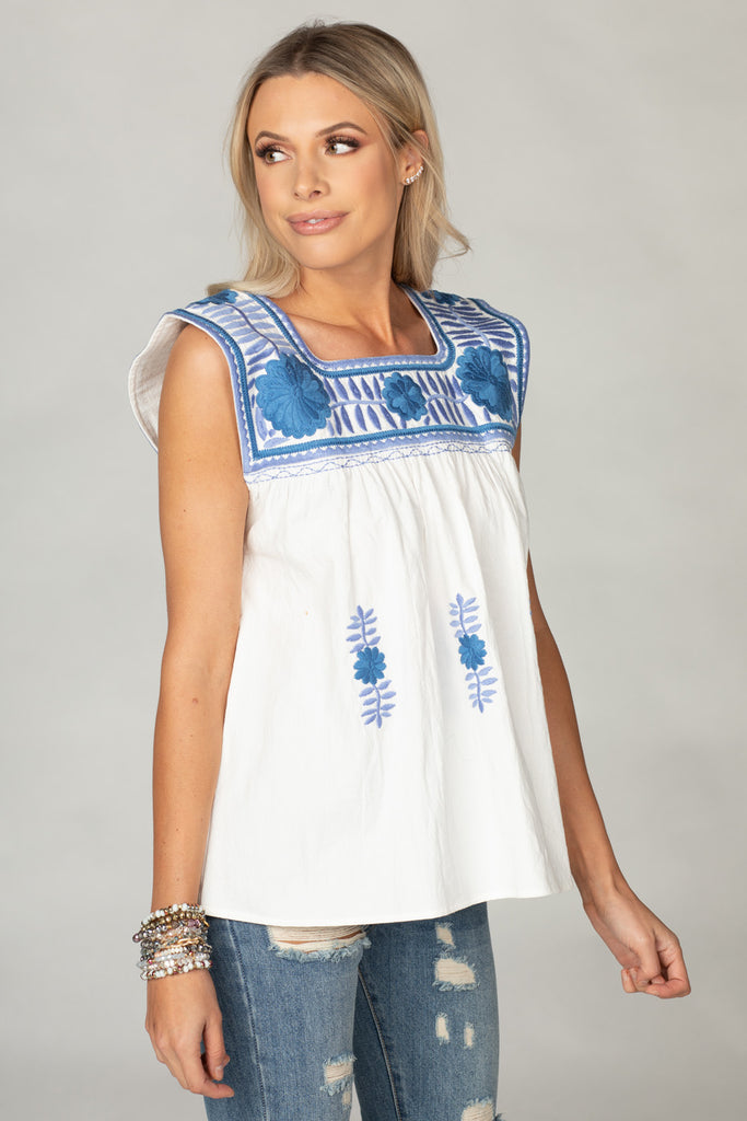 BuddyLove Maribel Embroidered Tank - Two Tone Blue