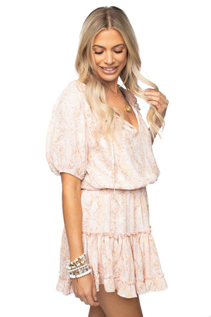 Pink Ruffled Elastic Waist Mini Dress