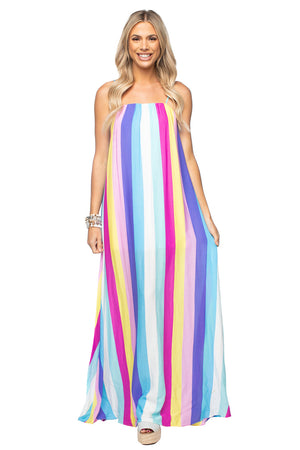 BuddyLove Misha Sleeveless Maxi Dress - Carnival,XS / Multi / Stripes