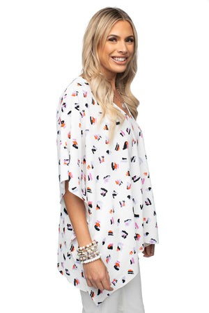 White Flowy V Neck Tunic Top