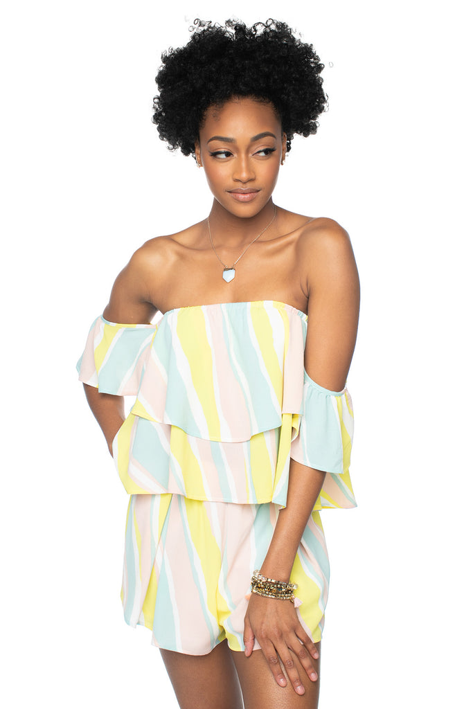 BuddyLove Laverne Off the Shoulder Top - Lemonade,XS / Yellow / Stripes