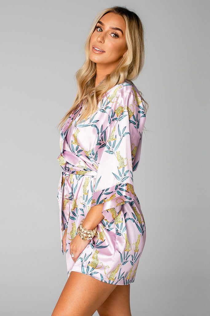 BuddyLove Hadid Silky Short Robe - Jungle Cat