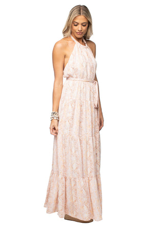 Light Pink Halter Neck Maxi Dress