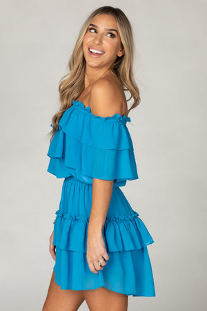 BuddyLove Kiera Ruffled Off the Shoulder Mini Dress - Turquoise