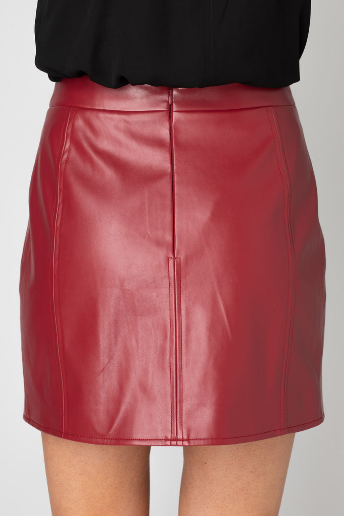 BuddyLove Carli Faux Leather Mini Skirt - Burgundy