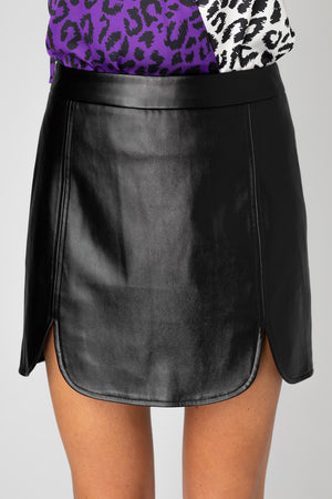 BuddyLove Carli Faux Leather Mini Skirt- Black,XS / Black / Solids