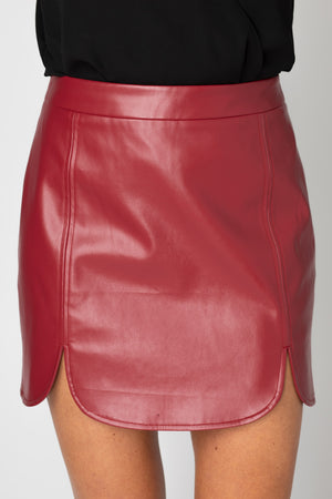 BuddyLove Carli Faux Leather Mini Skirt - Burgundy,XS / Burgundy / Solids
