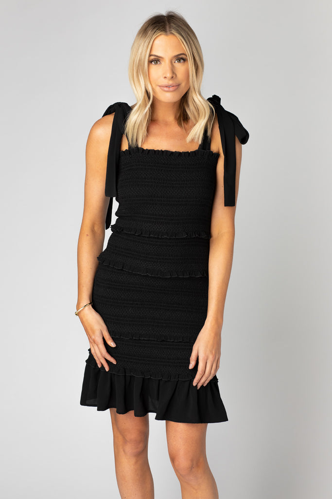BuddyLove Laura Smocked Mini Dress - Black,XS / Black / Solids