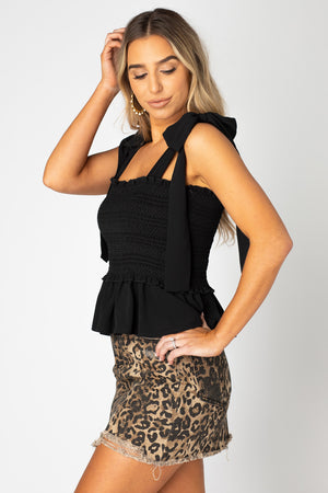 BuddyLove Candy Smocked Tie Shoulder Tank Top - Black