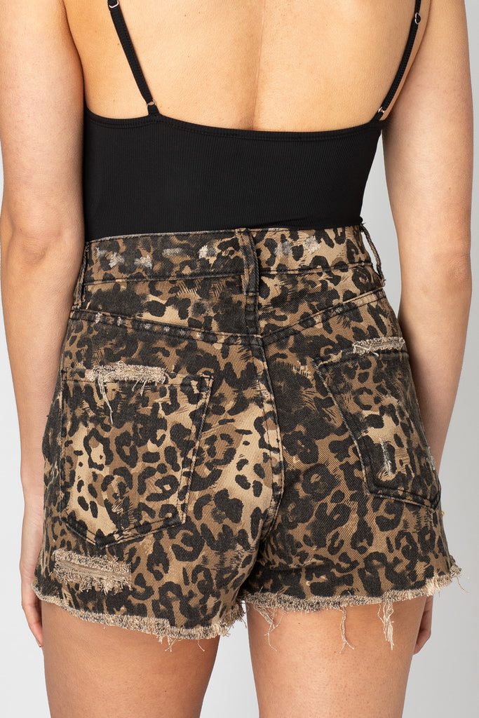 BuddyLove Stone Distressed High-Waisted Shorts - Leopard