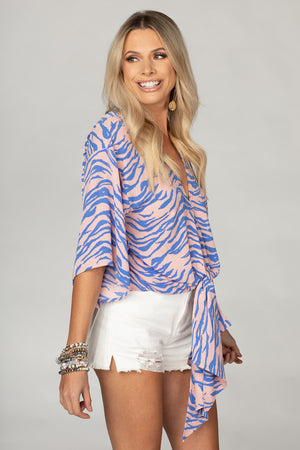 BuddyLove Muse Quarter Length Sleeve Tie Front Top - Blue Tiger