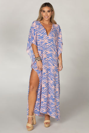 BuddyLove Miller Short Sleeve Maxi Dress - Blue Tiger,S/M / Blue / Feline