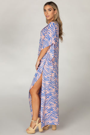 BuddyLove Miller Short Sleeve Maxi Dress - Blue Tiger