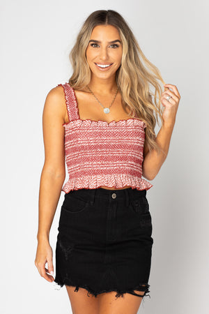 BuddyLove Ashlyn Smocked Crop Top - King,XS / Red / Snake Skin