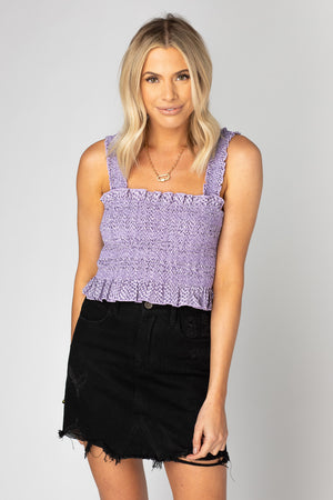 BuddyLove Ashlyn Smocked Crop Top- Iris,XS / Purple / Snake Skin