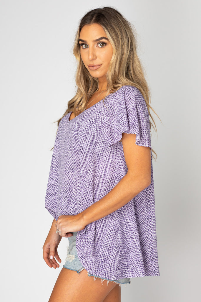 BuddyLove Avril Flutter Sleeve V-Neck Top - Iris