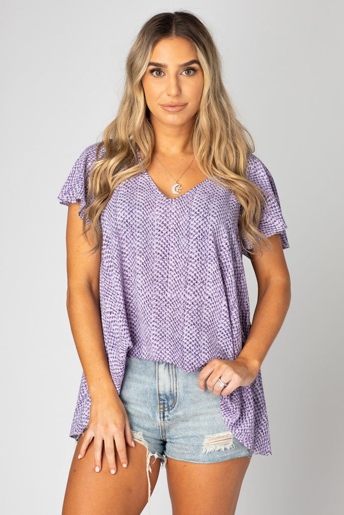 BuddyLove Avril Flutter Sleeve V-Neck Top - Iris,XS / Purple / Snake Skin