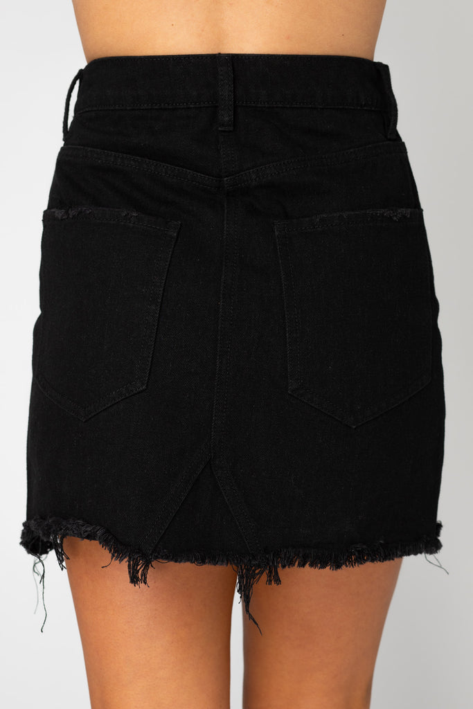 BuddyLove Sharon Distressed Mini Skirt - Black