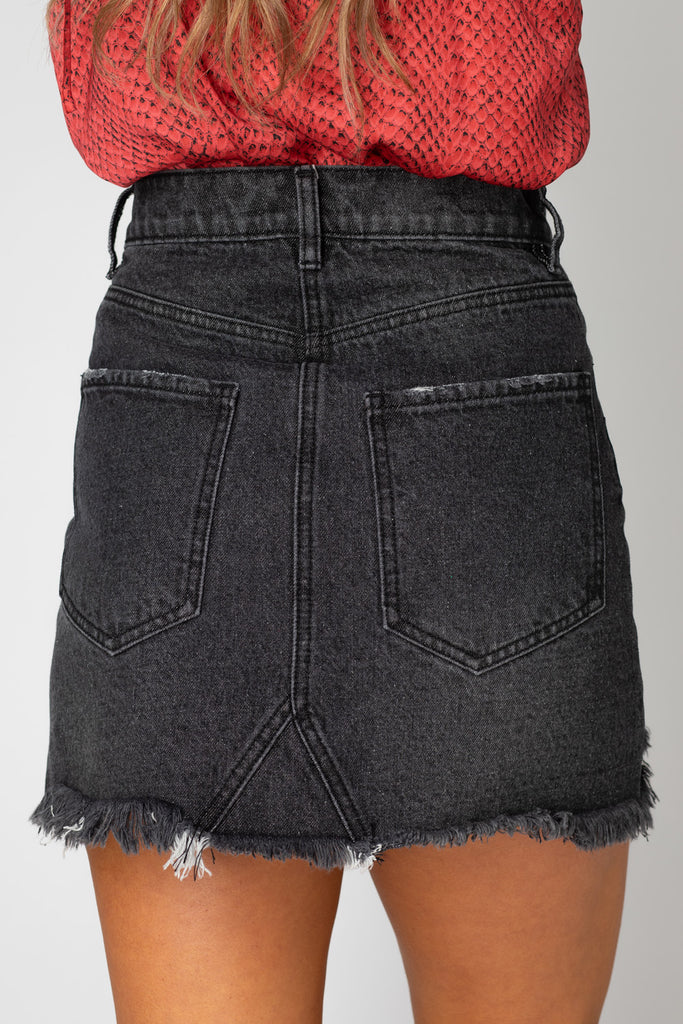 BuddyLove Sharon Distressed Denim Mini Skirt - Grey