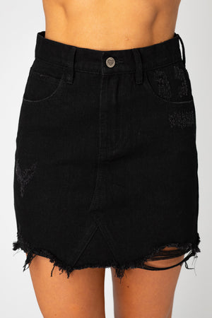 BuddyLove Sharon Distressed Mini Skirt - Black,24 / Black / Solids