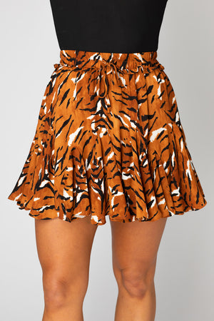 BuddyLove Presley Ruffled Mini Skirt - Raja,XS / Orange / Feline
