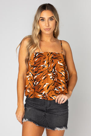 BuddyLove Geena Short Swing Tank Top - Raja,XS / Orange / Feline